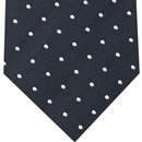 White On Dark Navy Pin Dot Silk Pocket Square