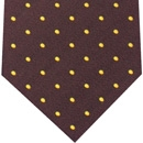 Yellow/Gold Dots on Burgundy Pin-Dot Silk Pocket Square #8