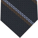 Powder Blue & Brown Stripes On Midnight Blue Grenadine Tie #3