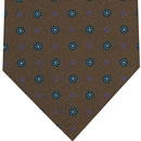Macclesfield Silk Tie Blue, Lavender & Light Yellow on Brown