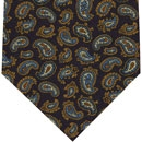Challis Macclesfield Midnight Blue Paisley Wool Tie #7